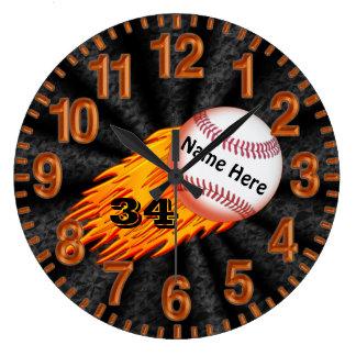 Relojes llameantes del béisbol con SU NOMBRE y