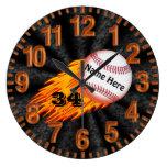 Relojes llameantes del béisbol con SU NOMBRE y NÚM