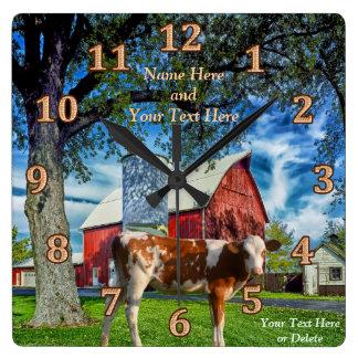 Relojes personalizados de la vaca y de la granja