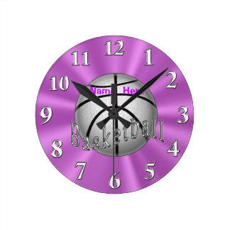 Relojes personalizados del baloncesto para el