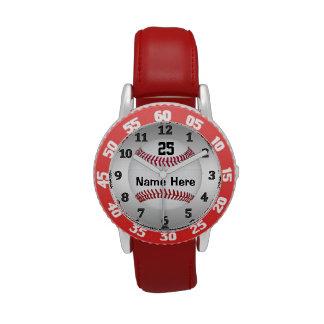 Relojes personalizados del béisbol para los niños