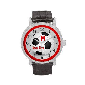 Relojes personalizados del fútbol con nombre y el