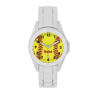 Relojes personalizados del softball con SU NOMBRE