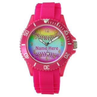 Relojes personalizados del softball para los