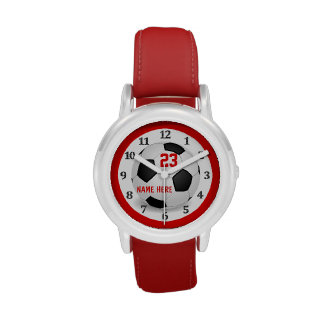 Relojes rojos del fútbol de los niños para los muc