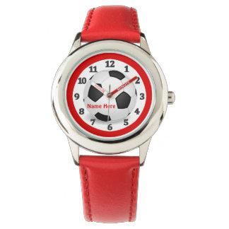Relojes rojos del fútbol para los niños con su