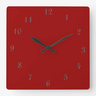 Relojes rojos llanos de Clock>Square con números