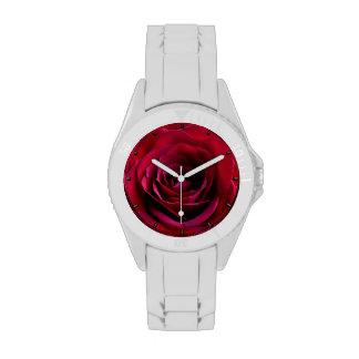 Relojes románticos del rosa rojo del reloj del ros