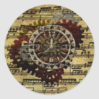 Relojes y engranajes de Steampunk del Grunge Pegatina Redonda