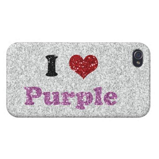 "Reluciente ""amo púrpura "" iPhone 4 cárcasa"