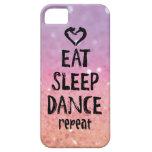 Reluciente coma, duerma, baile el caso funda para iPhone 5 barely there