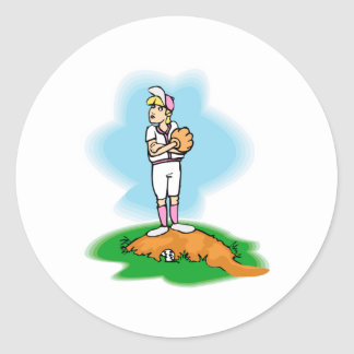 Reluctant Pitcher Classic Round Sticker