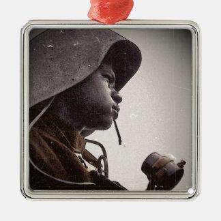 Remachador de Rosie del afroamericano Adorno Navideño Cuadrado De Metal