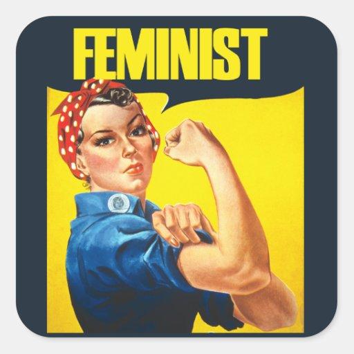 Remachador feminista de Rosie del vintage Pegatina Cuadrada