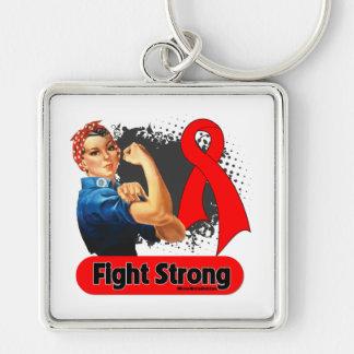 Remachador fuerte de Rosie de la lucha del cáncer  Llavero Cuadrado Plateado