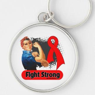 Remachador fuerte de Rosie de la lucha del cáncer  Llavero Redondo Plateado