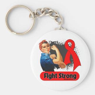 Remachador fuerte de Rosie de la lucha del cáncer  Llavero Redondo Tipo Pin