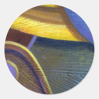 Remache colorido del estallido etiqueta redonda
