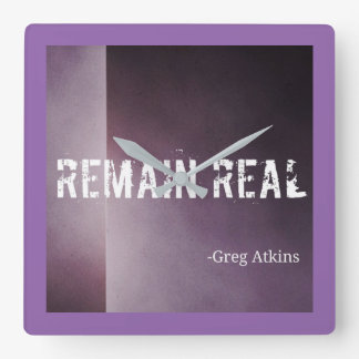 Remain Real Purple Clock- Greg Atkins Square Wall Clock
