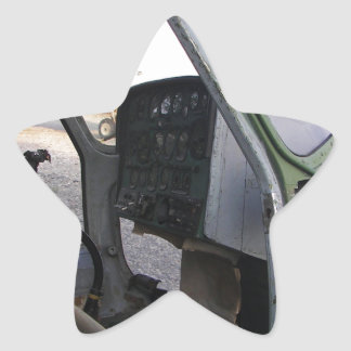 Remains of cold war helicopter. star sticker