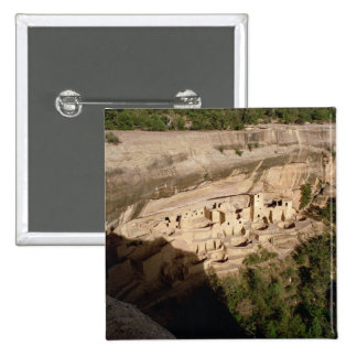 Remains of Pueblo Indian cliff dwellings 2 Inch Square Button
