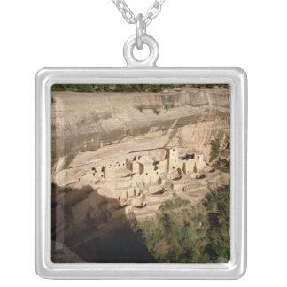 Remains of Pueblo Indian cliff dwellings Square Pendant Necklace