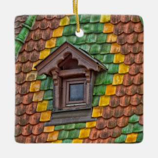 Remarkable roofing in the center of Obernai Ceramic Ornament