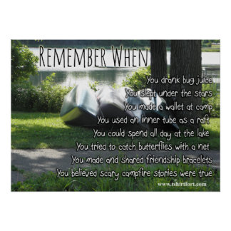 Rember When Childhood Camp Quotes Poster