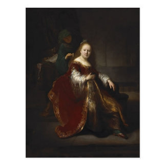 Rembrandt: A young woman at her toilet Post Cards