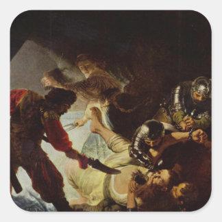 Rembrandt Art Painting Blinding Sampson Square Sticker