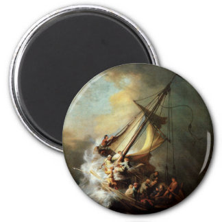 Rembrandt Art Painting Christ in the Storm 2 Inch Round Magnet