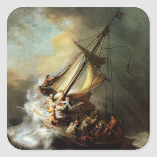 Rembrandt Art Painting Christ in the Storm Square Sticker