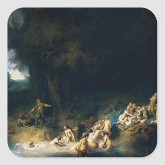 Rembrandt Art Painting Diana Bathing Square Sticker