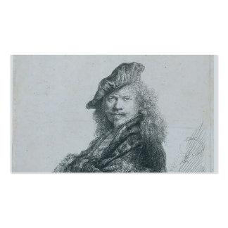 Rembrandt: Autorretrato que se inclina en un trave Plantilla De Tarjeta Personal