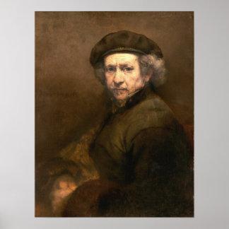 Rembrandt: Boina del autorretrato y cuello Dado vu Póster