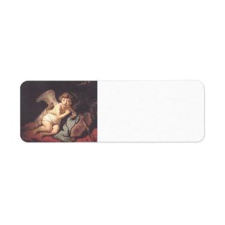 Rembrandt Burbujas de jabón del Cupid que soplan Etiquetas De Remite