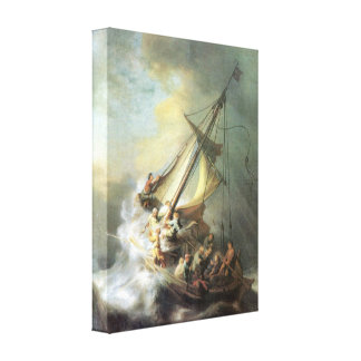 Rembrandt - Christ in a storm on the sea of Galile Stretched Canvas Print