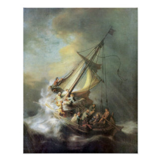 Rembrandt - Christ in a storm on the sea of Galile Poster