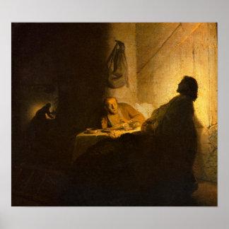 Rembrandt - Christus in Emmaus Poster