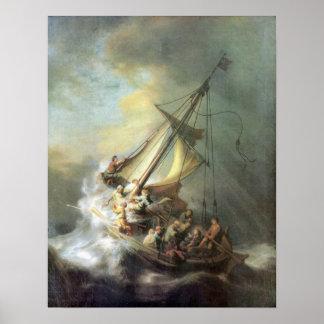 Rembrandt - Cristo en una tormenta en el mar de Ga Póster