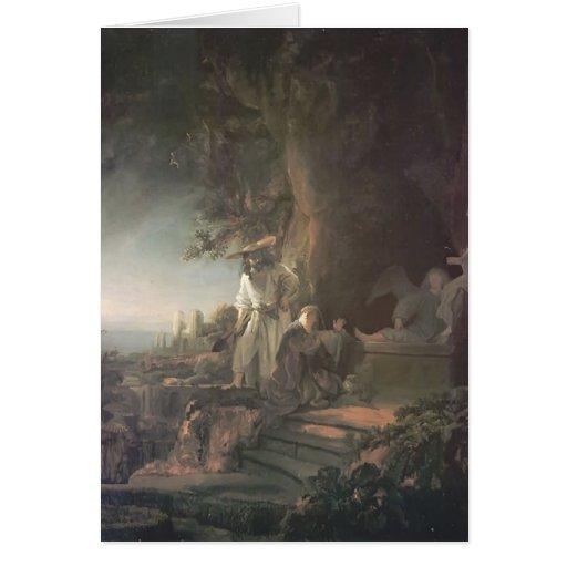 Rembrandt Cristo y St Mary Magdalena en la tumba Tarjeta De Felicitación