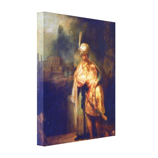 Rembrandt - Davids farewell with Jonathan Stretched Canvas Print