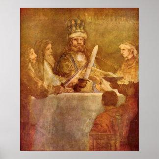 Rembrandt - detalle bátavo de la conspiración póster