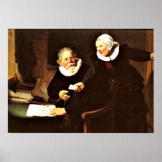 Rembrandt: El constructor naval y su esposa, 1633 Posters