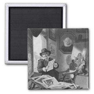 Rembrandt en su estudio imán cuadrado