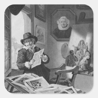 Rembrandt en su estudio pegatina cuadrada