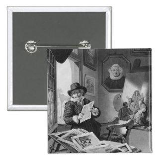 Rembrandt en su estudio pin cuadrado
