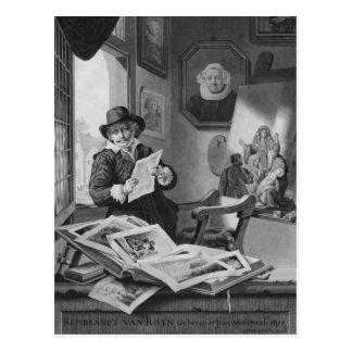 Rembrandt en su estudio postales
