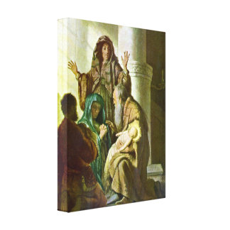 Rembrandt - Hannah and Simeon in the temple Canvas Print
