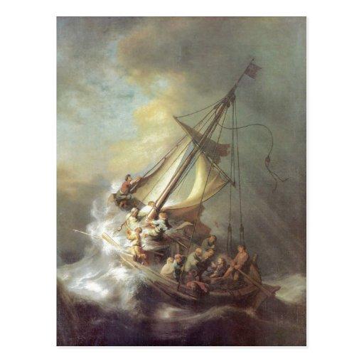 Rembrandt Harmensz. van Rijn Christus im Sturm auf Post Cards